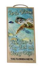 """Turtle Wisdom Take Time to Play Inspirational 5""""x10"""" Wood Plaque Sign for Wall"""