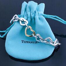 Rare Tiffany & Co. 925 Sterling Silver 18k Yellow Gold Open Heart Link Bracelet