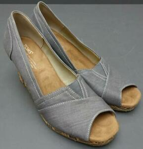 Women Toms One for One Gray Linen Canvas Peep Toe Espadrille Wedge Shoe 10M