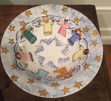 Heather Lane Pottery Angel Stars Vegetable Serving Bowl Dish Ceramics Sponge