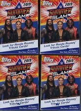 (4) 2019 Topps WWE  SUMMER SLAM Wrestling Trading Cards 71c Retl BLASTER Box LOT