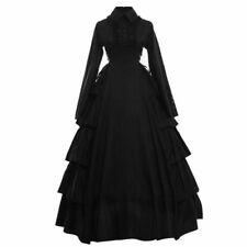 Gothic Lady Flounces Reenactment Costume Dress Vintage Victorian Black Ball Gown