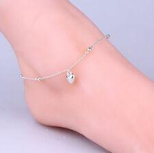 Women 925 Silver Bead Modern Foot Chain Heart Ankle Anklet Barefoot Bracelet