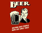 """BEER Helping Ugly people A2 CANVAS PRINT Art Poster Landscape RED 18""""X 24"""""""