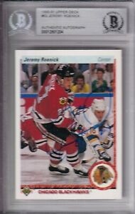 BECKETT 1990-91 UPPER DECK JEREMY ROENICK SIGNED ROOKIE CARD UD 00012801204 RC