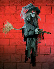 Halloween Hanging Witch On Broomstick Hanging Decoration Display Prop FREE P&P