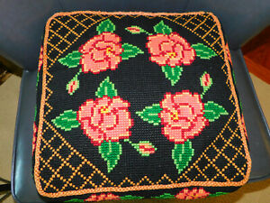 Vintage Auth AMISH Handmade Pink Black Floral Needlepoint Chair CUSHION PILLOW
