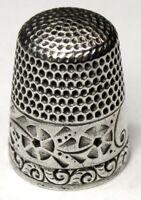 "Antique Waite Thresher Sterling Silver Thimble  ""Folk Art Flowers""  C1910s"