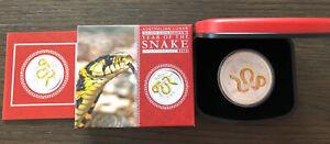 2013 Australia Perth Mint Gilded Lunar Year Of The Snake 1 Ounce .999 FS Box&coa
