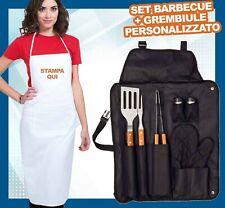 Set Attrezzi per Barbecue Accessori Utensili Pinze Grembiule personalizzato