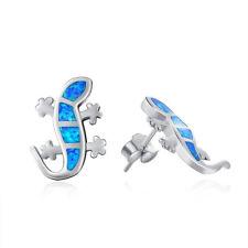 Sterling Silver Climbing Gecko Lizard Stud Earrings Blue Created Opal Jewelry