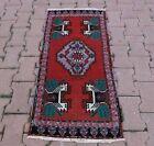 Nomadic Oriental Doormat Rug Turkish Vintage Hand Knotted Ethnic Carpet 2x4 ft