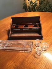 COLLECTORS OAK WOOD INK STAND / WELL WITH GLASS BOTTLES & GLASS PEN TRAY