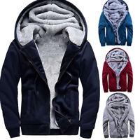 Men Fur Lined Winter Warm Hoodie Jacket Thick Sherpa Fleece Jumper Coat Parka