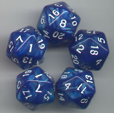 RPG Dice Set of 5 D20 - Pearl Blue w/white ink