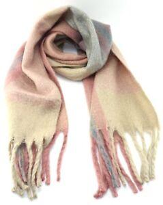 New large PINK autumn winter blanket scarf tassels men women colourful fringe