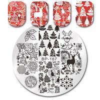 Stamping Plates Christmas Jingle Bell Deer Nail Art Image Templates BORN PRETTY