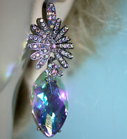 Austrian Crystal Chandelier Earrings Rhinestone Bridal Prom Pageant 2.6 in AB