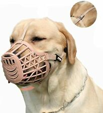 Pettycart Dog Plastic Muzzle Basket Cage for Large Dogs Size 7 Beige Pink