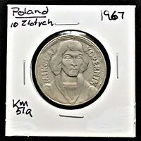 1967 POLAND 10 ZLOTYCH COIN, KM# 57a