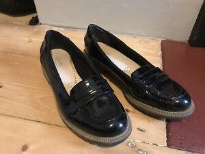 Clarks Black Patent Loafer Shoes Size 37 Uk 4