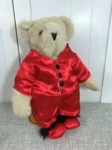 """Vermont Teddy Bear Beige Bear Plush 16"""" Tall with Red Silky Pajamas & Slippers"""