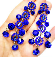 Blue Chandelier Earrings Rhinestone Crystal 3.4 inch