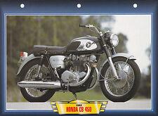 CARTE FICHE MOTO   / HONDA CB 450 /  1966  /  NEUVE