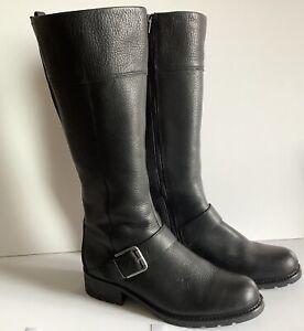 Clarks Orinoco Jazz Black Leather Biker Style Knee Boots With Buckle Nearly New