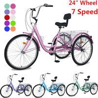 "Adult Tricycle 24"" Wheel 7 Speed 3Wheels Bicycle Trike Cruiser w/Folding Basket"