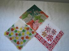 Vintage Lot of 3 Orange Green Yellow Maple Birch Leaf Leaves with Scalloped Edge