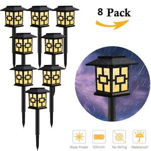 2-8X Solar Power Garden Post Lights Waterproof LED Outdoor Yard Path Lawn Lamp