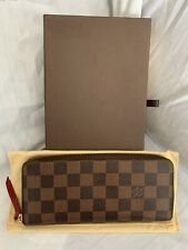 450089241709 Louis Vuitton Damier Ebene Clemence Zippy Wallet Rouge Red