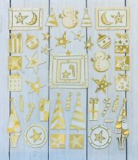 Holiday Gold Foil Stickers Papercraft Planner Supply Xmas Snowman Trees Stars