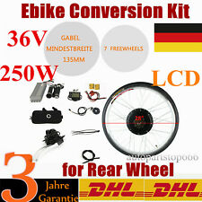 "36V 250W LCD Rear Wheel Motor Hub Electric Bicycle 28"" E-Bike Conversion Kit DHL"