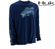 Huk Performance Large Mouth Bass Logo Long Sleeve Navy Blue Fishing Shirt M