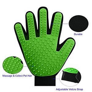 Pet Grooming Glove,2-in-1 Hair Remover Mitt Gentle Brush and Massage Tool-Green