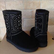 UGG FIORE Deco Studs Studded Black Sheepskin Short Boots US Size 10 Womens NIB