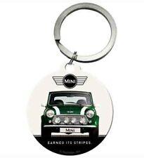 Official Classic Mini Cooper Car Round Metal Keyring - British Racing Green