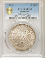 Top pop! 1855 Germany Frankfurt 2 Gulden PCGS MS-67 Ultra GEM Finest Rainbow