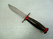 SCHRADE-WALDEN N.Y. USA Fixed Blade Bowie Hunting Knife Leather Handle / Red