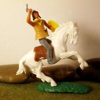 Original Hausser Elastolin 5,6cm Steckfigur beweglich schöner Indianer Reiter