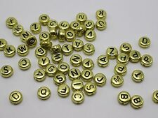 500 Assorted Golden Acrylic Alphabet Letter Coin Beads 4X7mm
