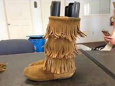 Minnetonka Moccasins Brown Suede Mid-Calf Fringe Boots Women's Size 8