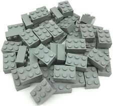 Lego 50 Used Light Gray Bricks 2 x 3 Dot Building Blocks Pieces some not clean