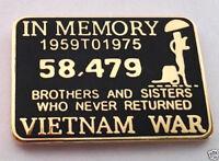 IN MEMORY OF THE VIETNAM WAR 1959-1975 pin / Vietnam Veteran Hat or lapel Pin