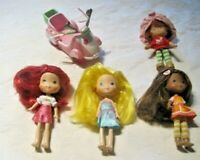 "Strawberry Shortcake Lot ~ 4 Dressed 6"" Dolls & Scooter"