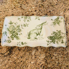 Easter Bunny Rabbit Green Toile Ceramic Rectangular Serving Platter by Maxcera