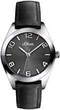 s.Oliver Damen Armbanduhr Silber Schwarz Klassich Leder SO-2769-LQ