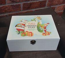shabby vintage chic wooden personalised christmas Eve Treat box keepsakes